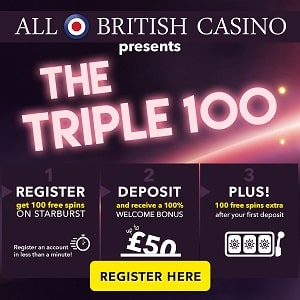 100 free spins for UK